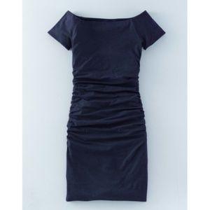 Boden Navy Blue Ruched Off Shoulder Midi Dress